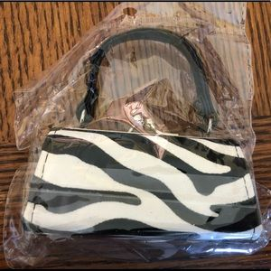 Black and white zebra print mini purse bag
